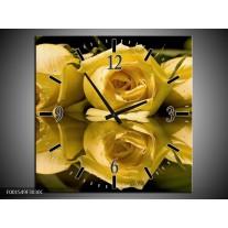 Wandklok op Canvas Roos | Kleur: Geel, Grijs | F001549C