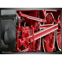 Glas schilderij Trein | Rood, Zwart, Wit