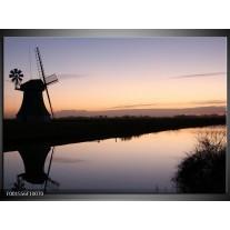 Foto canvas schilderij Molen | Zwart, Grijs, Wit