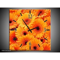 Wandklok op Canvas Bloemen | Kleur: Oranje, Zwart | F001559C