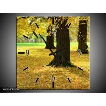 Wandklok op Canvas Natuur | Kleur: Geel, Groen, Zwart | F001560C