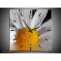 Wandklok op Canvas Bloem | Kleur: Geel, Wit | F001561C