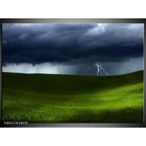 Foto canvas schilderij Bliksem | Groen, Grijs, Wit