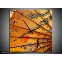 Wandklok op Canvas Waaier | Kleur: Bruin, Zwart, Oranje | F001578C