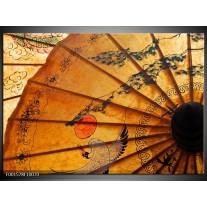 Glas schilderij Waaier | Bruin, Zwart, Oranje