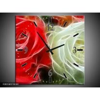 Wandklok op Canvas Roos | Kleur: Wit, Rood,   | F001581C