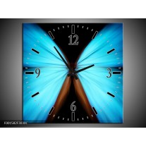 Wandklok op Canvas Vlinder | Kleur: Blauw, Zwart | F001582C