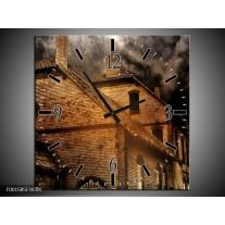 Wandklok op Canvas Huis | Kleur: Bruin, Zwart, Grijs | F001585C