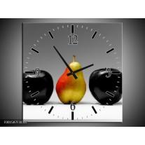 Wandklok op Canvas Fruit   Kleur: Zwart, Grijs, Rood   F001587C