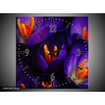 Wandklok op Canvas Bloem | Kleur: Zwart, Oranje, Paars | F001590C