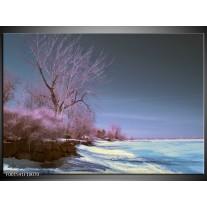 Glas schilderij Natuur | Blauw, Paars, Wit