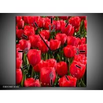 Wandklok op Canvas Tulpen | Kleur: Rood, Groen, Grijs | F001598C