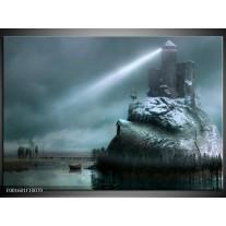 Glas schilderij Kasteel | Grijs, Wit