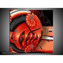 Wandklok op Canvas Cirkels | Kleur: Rood, Zwart, Grijs | F001602C