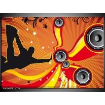 Foto canvas schilderij Dansen | Zwart, Rood, Geel