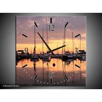 Wandklok op Canvas Boot | Kleur: Geel, Zwart, Grijs | F001605C