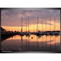 Glas schilderij Boot | Geel, Zwart, Grijs