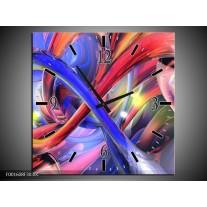 Wandklok op Canvas Abstract | Kleur: Paars, Rood, Geel | F001608C