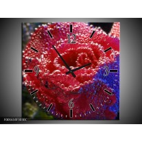 Wandklok op Canvas Roos | Kleur: Rood, Blauw, Wit | F001614C