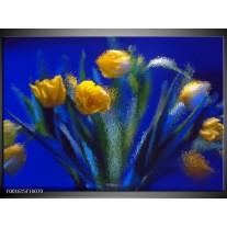 Foto canvas schilderij Tulpen | Blauw, Geel, Groen