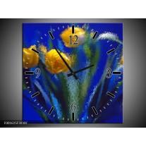Wandklok op Canvas Tulpen | Kleur: Blauw, Geel, Groen | F001615C