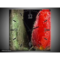 Wandklok op Canvas Tulp   Kleur: Rood, Groen, Grijs   F001616C