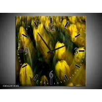 Wandklok op Canvas Tulpen | Kleur: Geel, Groen | F001624C
