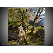 Wandklok op Canvas Natuur | Kleur: Groen, Grijs | F001636C