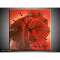 Wandklok op Canvas Roos | Kleur: Rood, Oranje, Geel | F001639C