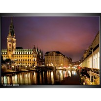Glas schilderij Gebouw | Paars, Geel, Wit