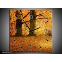 Wandklok op Canvas Bomen | Kleur: Geel, Groen, Bruin | F001646C