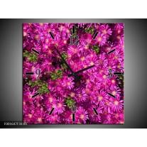 Wandklok op Canvas Bloemen | Kleur: Paars, Groen | F001647C
