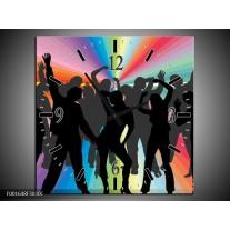 Wandklok op Canvas Dansen | Kleur: Zwart, Rood, Groen | F001648C