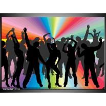 Glas schilderij Dansen | Zwart, Rood, Groen