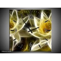 Wandklok op Canvas Bloem | Kleur: Geel, Wit, Zwart | F001651C