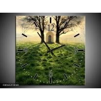 Wandklok op Canvas Natuur | Kleur: Groen, Wit, Zwart | F001652C
