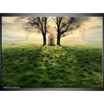 Glas schilderij Natuur | Groen, Wit, Zwart
