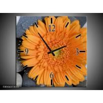 Wandklok op Canvas Bloem   Kleur: Oranje, Grijs   F001661C
