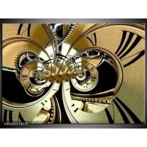 Glas schilderij Abstract | Zwart, Goud, Wit