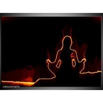 Glas schilderij Yoga | Geel, Oranje, Zwart