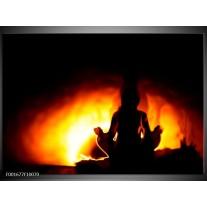 Foto canvas schilderij Yoga | Geel, Oranje, Zwart