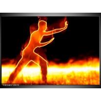 Glas schilderij Sport   Geel, Oranje, Zwart