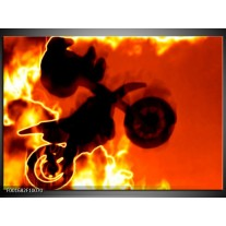 Foto canvas schilderij Motor | Geel, Oranje, Zwart