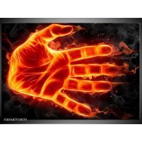 Foto canvas schilderij Hand | Oranje, Geel, Zwart