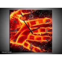 Wandklok op Canvas Hand | Kleur: Oranje, Geel, Zwart | F001687C