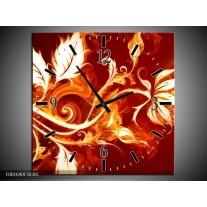 Wandklok op Canvas Bloem   Kleur: Goud, Rood, Geel   F001690C