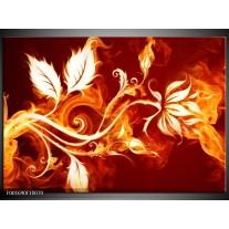 Glas schilderij Bloem   Goud, Rood, Geel