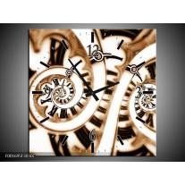 Wandklok op Canvas Abstract   Kleur: Wit, Zwart, Bruin   F001695C