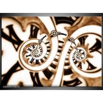Glas schilderij Abstract | Wit, Zwart, Bruin