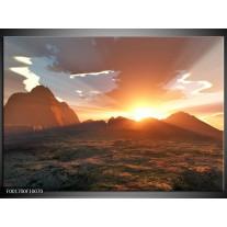 Glas schilderij Zonsondergang | Geel, Bruin, Wit